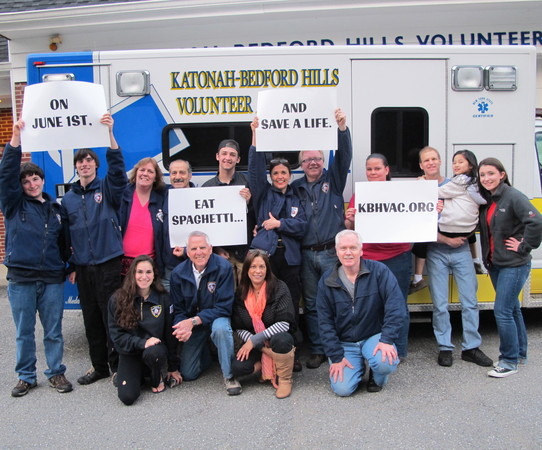 Katonah Ambulance members spread the word about the upcoming spaghetti dinner